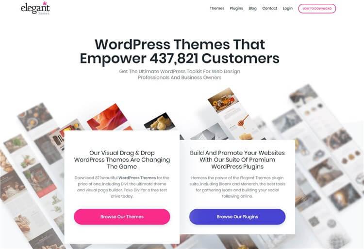 海外Wordpressテーマ。ドラッグ&ドロップでデザインできるテーマ。Elegant Themes Divi