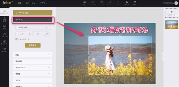 Fotorを使ってフリー素材の写真をクロップする